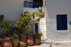Greek style. Outside a Greek house in the village Loutro Stock Image
