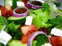 Greek Style Salad. Macro photo of freshly made Greek Salad Royalty Free Stock Photography