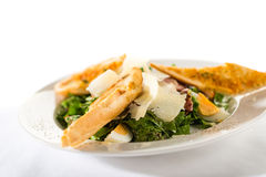 Greek style salad with garlic bread Stock Image