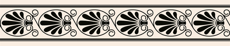 Greek style seamless ornament. Black pattern on a beige background. EPS 10 Stock Photography