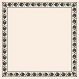 Greek style seamless ornament with corner element. Black pattern on a beige background. Royalty Free Stock Images