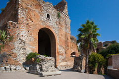 Greek style theatre entrance in Sicily Royalty Free Stock Images