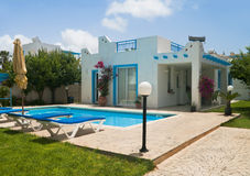 Greek style white and blue villa in Cyprus Stock Image