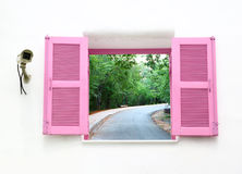 Greek style windows with cctv and curve road Stock Images