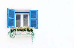 Greek Style windows and flower Stock Photo