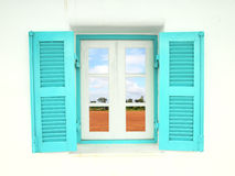 Greek style windows with nature country Stock Photo