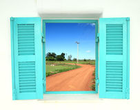 Greek style windows with soil curve road Stock Image
