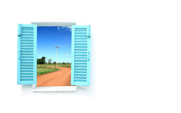 Greek style windows with soil curve road Stock Images