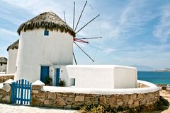Greek styled windmill Royalty Free Stock Photos