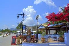 Greek summer resort promenade restaurants Royalty Free Stock Photos
