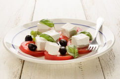 Greek summer salad on a plate Royalty Free Stock Images