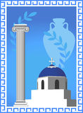 Greek Symbols. Illustration with an antique Greek column, church, amphora and olive branch Royalty Free Stock Photo