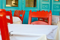 Greek tavern. Traditional tables and chairs in greek tavern Stock Image