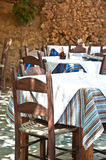 Greek tavern. Traditional tables and chairs in greek tavern Royalty Free Stock Photo