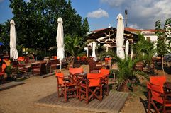 Greek tavern on the beach Stock Image