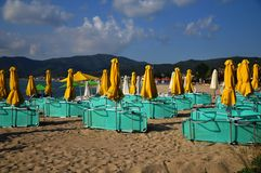 Greek tavern on the beach. Vacation Stock Photo