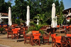 Greek tavern on the beach. Vacation Royalty Free Stock Photography