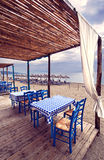 Greek tavern on beach Stock Image