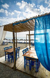 Greek tavern on beach Stock Images