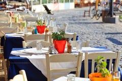 Greek tavern concept stock images