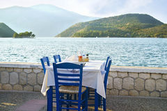 Greek tavern at Ithaca island Greece. Greek tavern in front of the sea at Ithaca island Greece royalty free stock photo