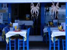 The restaurant on the Greek island. Greek tavern on the Mediterranean sea Stock Photo