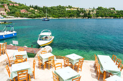 Greek tavern over beautiful bay in Kalami in Corfu island, Greece Stock Images