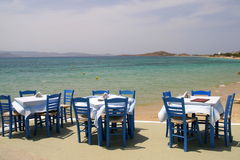 Greek tavern by the sea Royalty Free Stock Photography