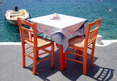 Greek tavern by the sea coast, Greece Royalty Free Stock Image