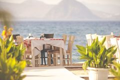 Greek tavern by the sea, Kos, Greece Royalty Free Stock Photography