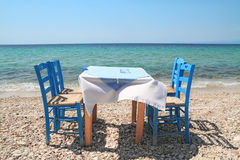 Greek tavern by the sea Royalty Free Stock Photo