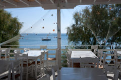 Greek tavern sea view - Dodecanese islands stock photography