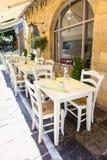 Greek tavern. Street scene at sommer in Greece Stock Photo
