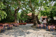 Greek traditional tavern - Thassos Island, Greece Royalty Free Stock Images