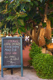 Greek taverna 1. A taverna at Parnomo on Crete stock images