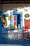 Greek taverna. Coloured and funny taverna in Kos island, Greece royalty free stock photography
