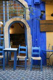 Greek taverna. A typical tourist area Greek taverna, in the popular Venetian old town part of Hania, Crete stock photography
