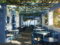 Greek taverna. Typical Greek restaurant - taverna in blue color Royalty Free Stock Photography