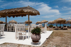 Greek taverna on the beach Royalty Free Stock Photos