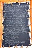 Greek Taverna chalkboard, Kalyves. Stock Images