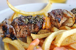 Greek taverna lamb souvlaki Stock Photos