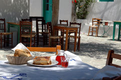 Greek taverna lunch. Lunch at a greek taverna royalty free stock image