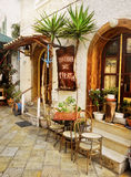 Greek Taverna, Paxi Island, Greece Royalty Free Stock Photos