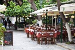 Greek Taverna at Plaka Athens Stock Photo