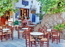Greek Taverna Restaurant royalty free stock photos
