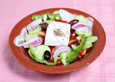 Greek taverna salad. A traditional greek or country salad served at a greek taverna royalty free stock images