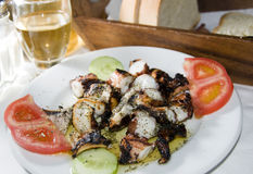 Greek  taverna specialty marinated grilled octopus Stock Photography