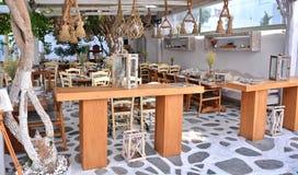 Greek taverna. Greek traditional taverna in Mykonos royalty free stock photo