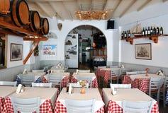 Greek taverna. Greek traditional taverna in Mykonos stock photos