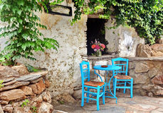 Greek taverna. Traditional taverna restaurant in Greece royalty free stock photography